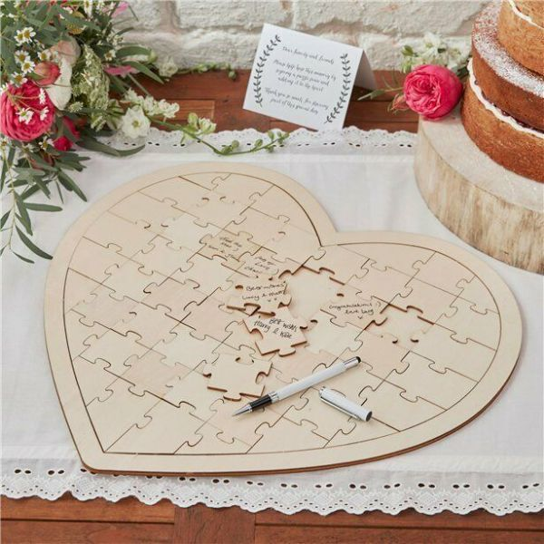 Boho Wedding Wooden Heart Jigsaw Guest Book 58 pieces